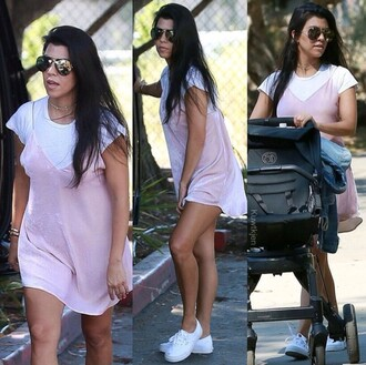 dress style kourtney kardashian kourtney kardashian style kardashians short dress pink dress summer dress
