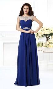 dress,prom dresses 2015,blue dress,prom dress,formal dress,evening dress,illusion neckline dress,open back prom dress,sexy prom dress