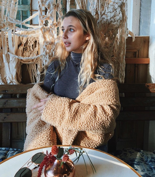 Jacket Brown Fuzzy Sweater Emma Chamberlain Wheretoget