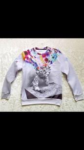 colorful,sweater,creative thinking crewneck.    colorful.,overthinking,black and white