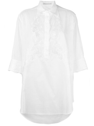 shirt women lace white cotton top