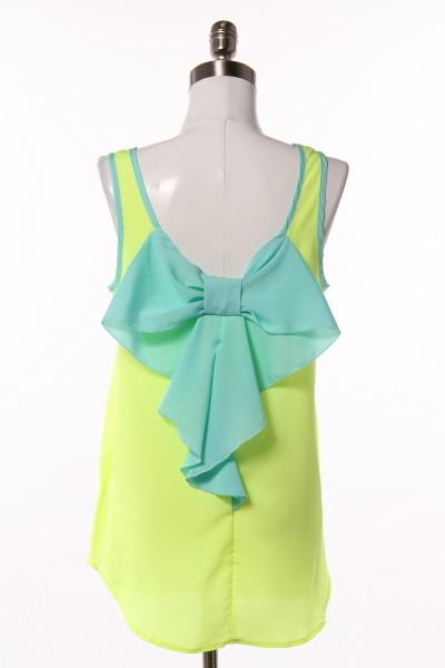 Chiffon women's blouse neon bow tank top sleeveless neon yellow bow back