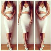 dress,two-piece,white,midi dress,skirt,crop tops,herve leger,bandage dress,bodycon dress,jewels