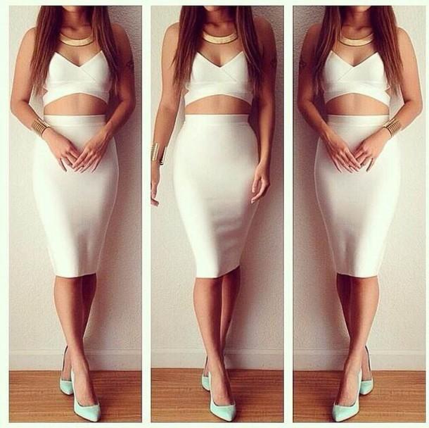 Dress: two-piece, white, midi dress, skirt, crop tops, herve leger ...