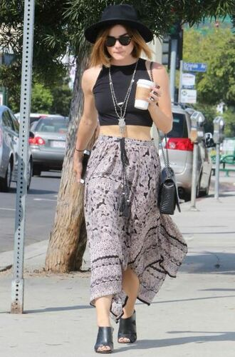 skirt top midi skirt crop tops summer outfits lucy hale