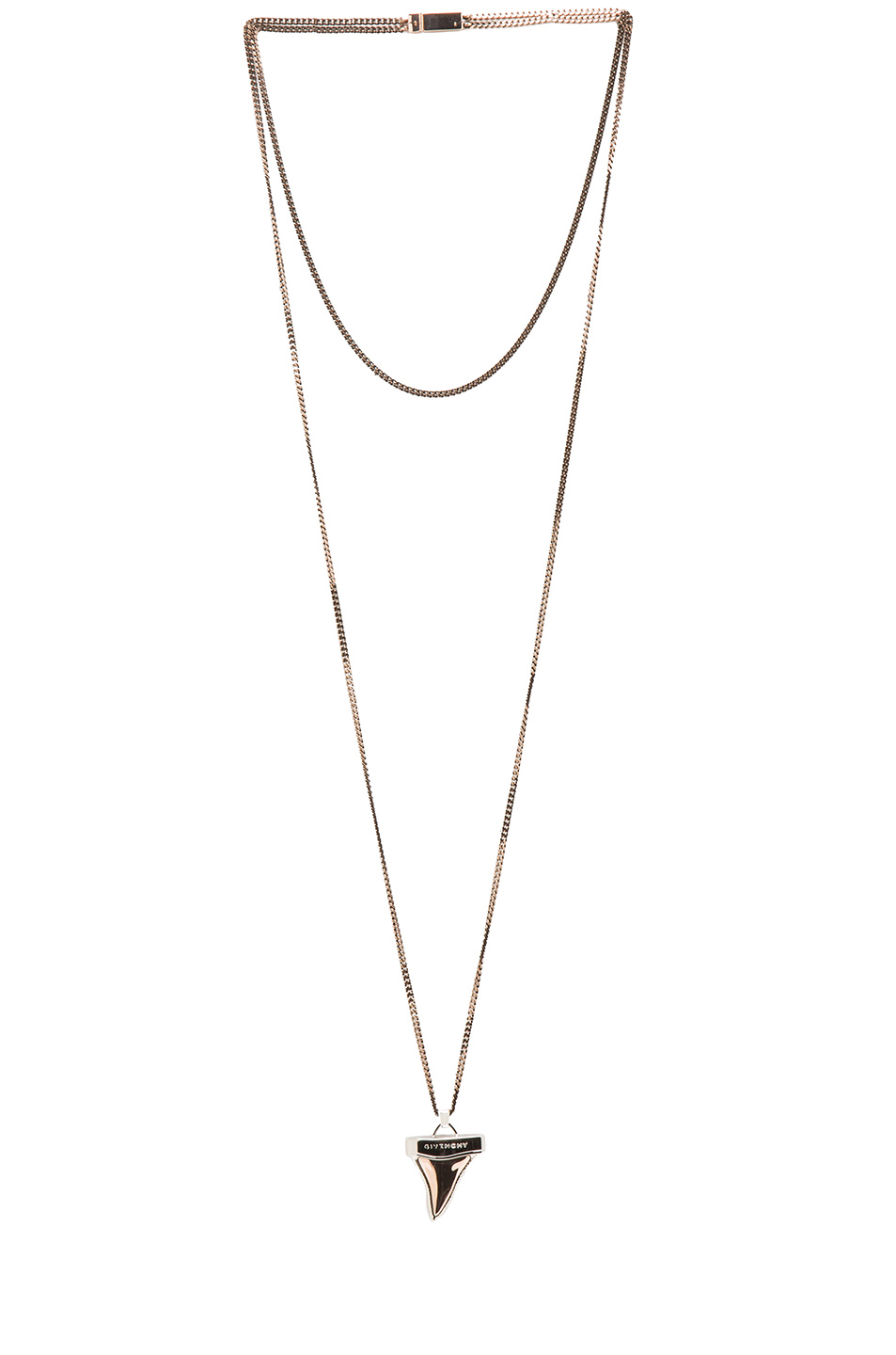GIVENCHY|Small Shark Tooth Necklace in Old Pink & Silver