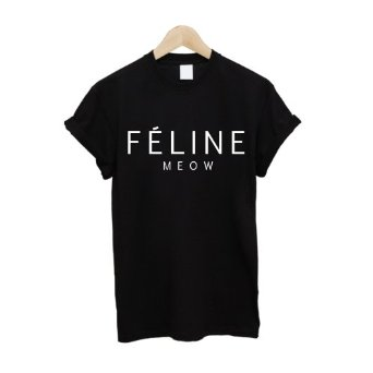 Feline Meow T Shirt: Amazon.co.uk: Clothing