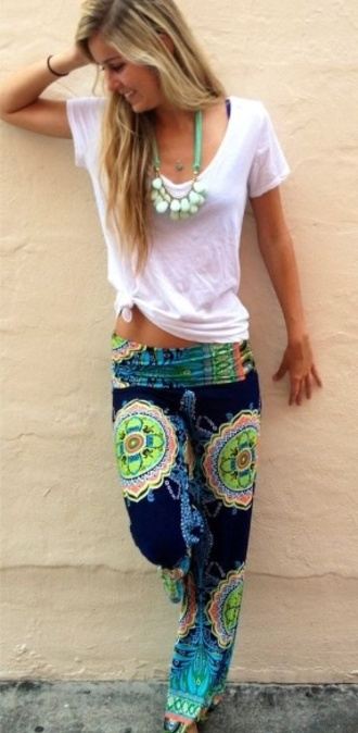 pants colorful pants hippie colorful yoga lounge pants boho pants beach beach pants clothes shoes sandals white shirt blue beach pants tights boho boho chic cute tie dye multicolor baba cool cool dun sun summer outfits classy original jewels bikini t-shirt printed pants blue and lime pants blue pants style fashion jeans yoga pants colorful pattern bohemian hipster hippie pants neon tumblr outfit tumblr