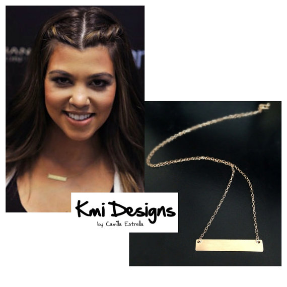 Gold Bar Necklace Kardashian Necklace Dainty by camilaestrella