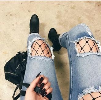 jeans fishnet jeans denim blue cut jeans
