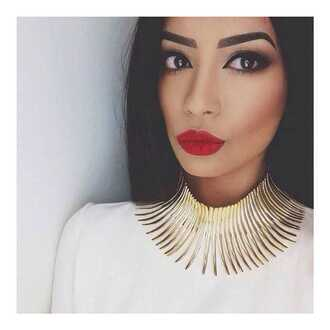 jewels necklace gold necklace gold collar necklace collar necklaces spiked necklace spiked collar gold choker choker necklace