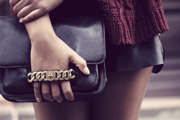 bag black clutch chain