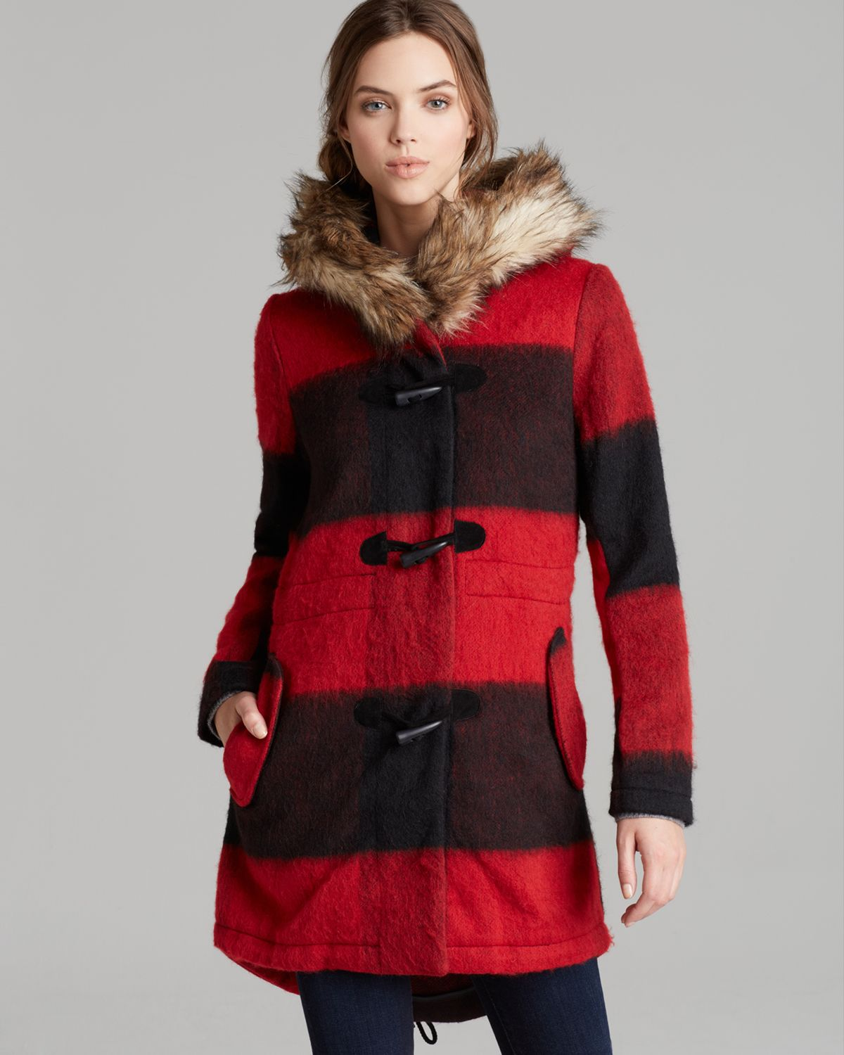 BB Dakota Coat - Buffalo Plaid Hooded | Bloomingdale's