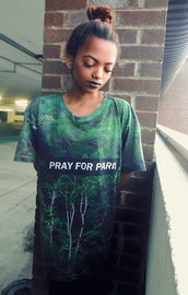 t-shirt,pray for paris,forest,print