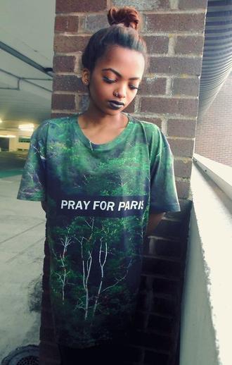 t-shirt pray for paris forest print