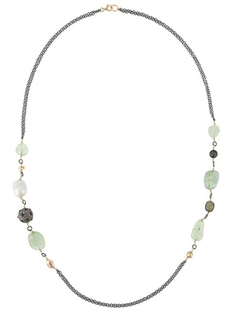 Gemco long necklace long women pearl beaded necklace gold silver grey metallic jewels