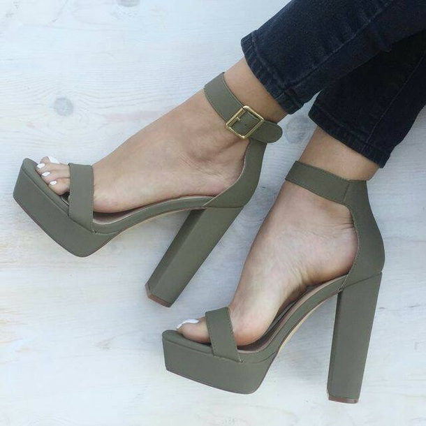 Shoes: green block heels, block heel, platform block heels, thick ...