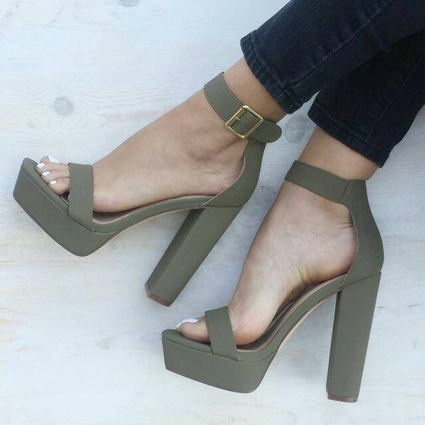e2e525305b3 shoes green block heels block heel platform block heels thick strap block  platform green platform heels