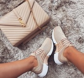 shoes,nike,nike shoes,nude sneakers,nude,tan,presto,girly,beige shoes,sneakers,sand,beige,nike presto,ysl bag,nike fly knit presto in beige nudes,adidas,bag,nike running shoes,tanshoes