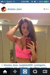 underwear,hot pink,push up,bralet top corset bra