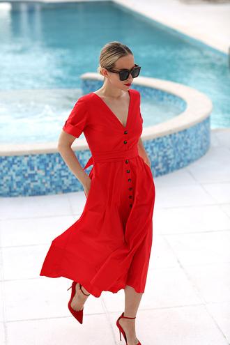 dress tumblr midi dress red dress button up v neck v neck dress sandals sandal heels red heels all red wishlist sunglasses