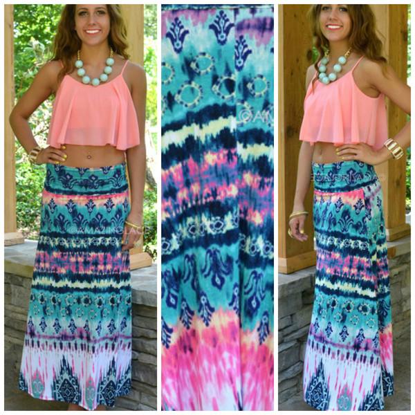 c8f8cb7ee16 Sea Spell Pink Multi Tie-Dye Maxi Skirt