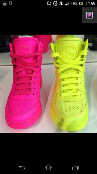 neon yellow shoes neon pink high