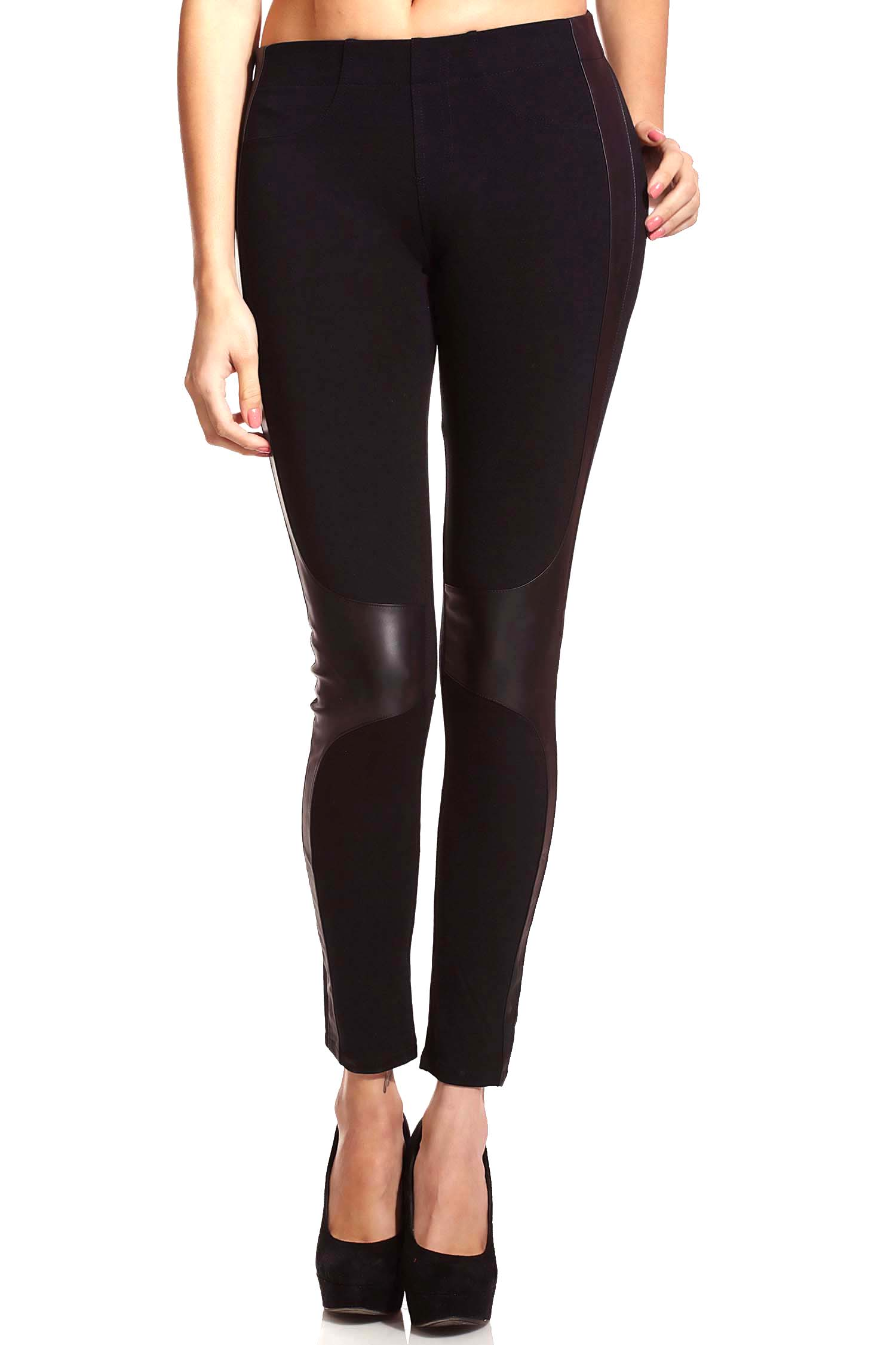 Leather detail leggings