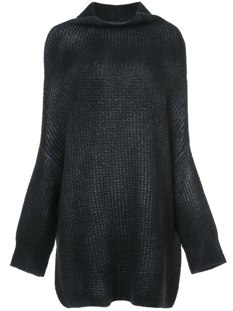jumper women draped black silk sweater