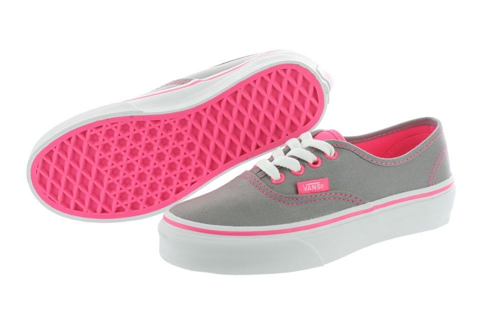 Vans Authentic Kids VN 0RQZ7N0 Neon Pop Frost Grey Pink Canvas Shoes Youth | eBay