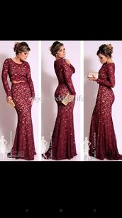 dress,lace dress,burgundy dress,long prom dress