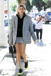 shoes,hailey baldwin,streetstyle,fall outfits,model off-duty,mini skirt,blazer,hoodie