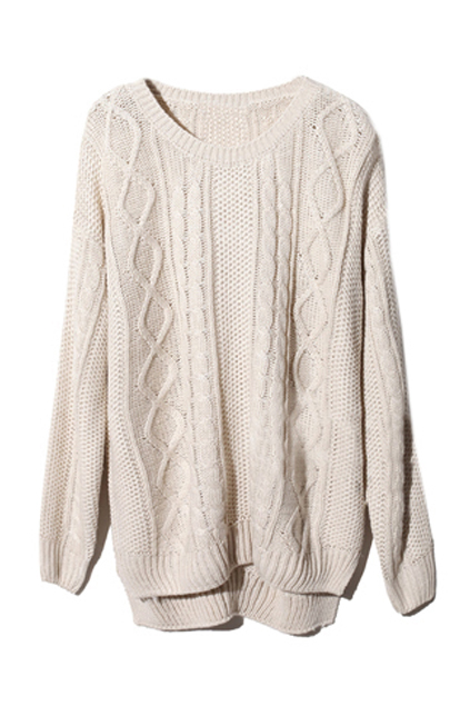 Asymmetric geometric serratula texture cream jumper, the latest street fashion