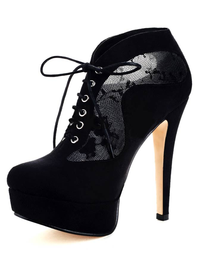 Black lace up sheepskin suede high heel booties for women