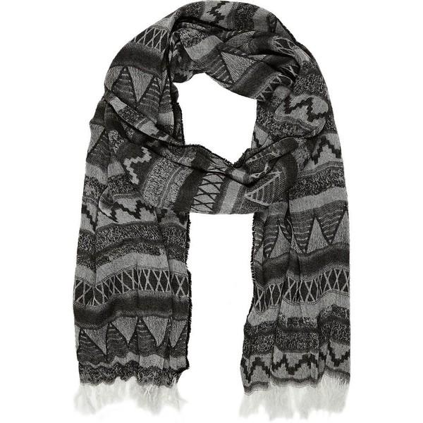 River island grey aztec skinny scarf