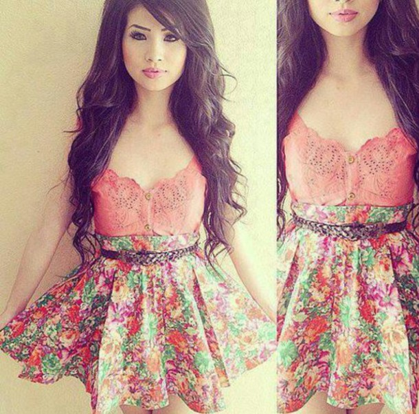 dress pink dress pink flowers floral floral dress