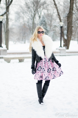 fashion addict blogger dress pink skirt winter jacket jacket hat t-shirt shoes gloves
