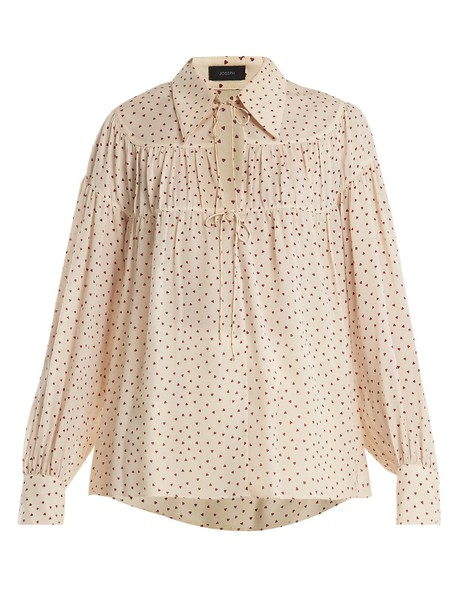 Joseph blouse chiffon blouse heart chiffon print silk cream top