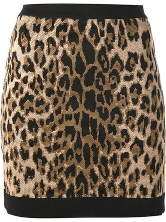 skirt print leopard print black
