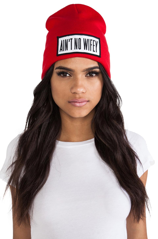 Dimepiece Ain't No Wifey Beanie in Red | REVOLVE