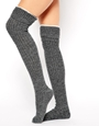 ASOS Mix Knit Over The Knee Tipped Socks at asos.com