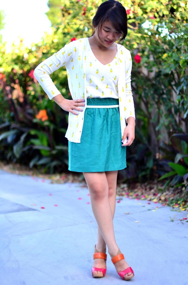 daily disguise shoes top cardigan skirt belt