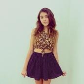 skirt,polka dots,blue skirt,polka dot skirt,high waisted skirt,skater skirt,blouse,floral tank top,floral,madison beer