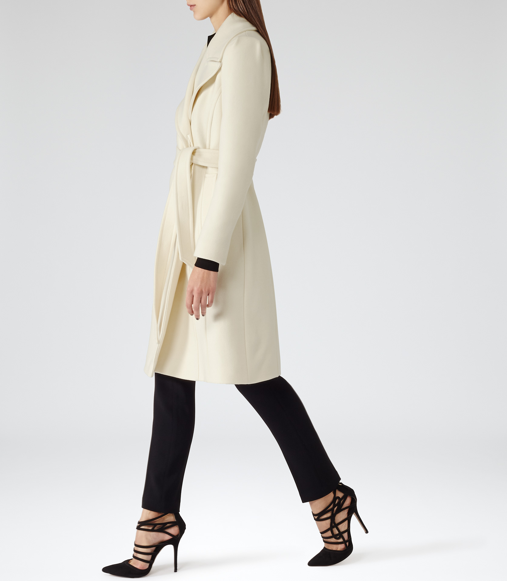Envy Cream Belted Tailored Coat - REISS