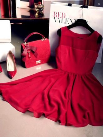 dress red dress red  dresses red beautiful short dress heels red heels handbag
