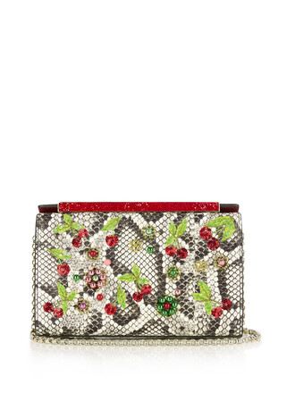 cherry embroidered clutch bag