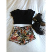 shorts,shirt,coat,shoes,clothes,black,summer,hipster,tumblr,printed shorts,cute,floral,DrMartens,style,hawaiian,tropical,flowers,t-shirt,high waisted,jungle,crop tops,tropical print shorts,High waisted shorts,flowered shorts,plant shorts,leaves,blouse,black crop top,flowery shorts