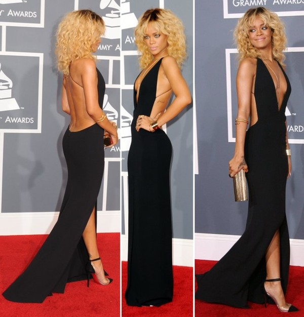 dress rihanna gown clothes backless backless black dress open back long dress sexy dress little black dress maxi dress floor length shoes black dress backless dress v neck dress prom dress celebrity style rihanna dress evening dress jewels black dress red carpet maxidress with splits jeans make-up black open front front slit rihanna 2012 the grammys award plunge v neck