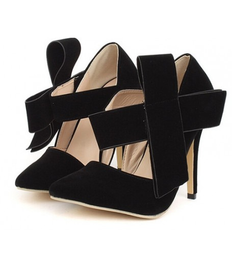 Black Suede Pointed Toe Big Bow High Heel Pumps