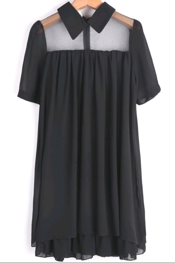 black dress black dress classic dress preppy collared dress